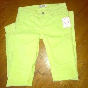Free people skinny corduroys neon yellow/green 25